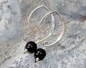 Black Onyx Earrings, Black Stone Earrings, Sterling Silver Earrings, Natural Stone Earrings, Semi Precious Stone, Gemstone Earring, Handmade
