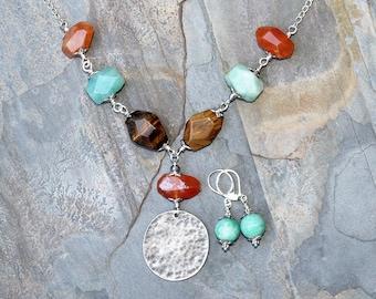 Mixed Stone Jewelry Set, Multi Color Jewelry Set, Amazonite Jewelry Set, Tiger Eye Jewelry Set, Carnelian Jewelry Set, Bohemian Jewelry Set