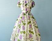 1950s Floral Dress...Vintage Semi Sheer Dotted Swiss Floral Print Dress
