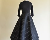 Vintage 1950s Party Dress...Chic Black Cocktail Dress with Circle Skirt