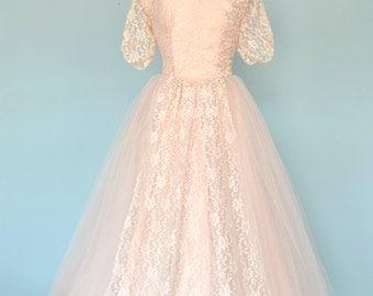 Vintage 1950s Wedding Dress...Ballerina Length Wedding Dress Medium