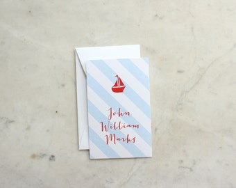 children's / boy or brother calling cards / gift enclosures - sailboat