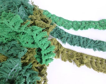 Tassel Trim Fringe Lot Green, Dark Green, and Olive Green Vintage Decorator Sewing Supplies Destash 23 Yards
