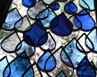 Stained Glass Panel - Raindrop Framed Window