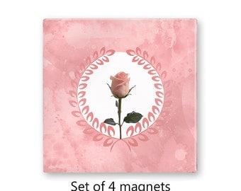 Pink fridge magnets, floral magnet set , rose refrigerator magnets, set of 4 decorative magnets, kitchen decor, art magnets