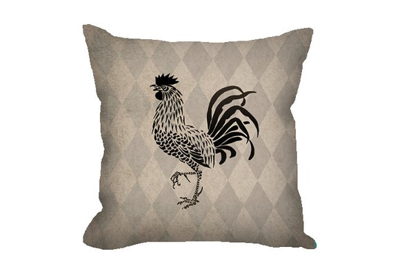 Black Rooster Throw Pillows : Farmhouse decor Rooster pillow throw pillow by FischerFineArts