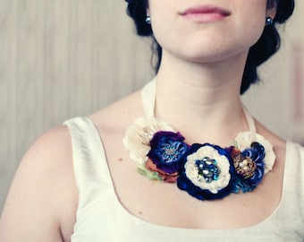 Custom Bridal Jewelry, Floral Statement Necklace in Your Wedding Colors, Made To Order Fabric Flower Necklaces, Bridesmaid Necklaces