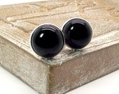 Men's Black Onyx Cuff Links - Round Cabochons 18MM - Black Cluff Links