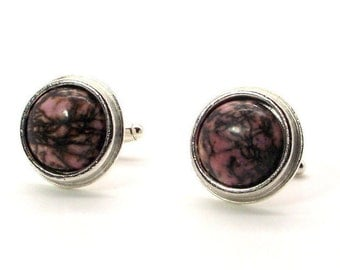 Black Lined Rhondonite Cufflinks, Pink and Black Cufflinks, Rhondonite Cufflinks