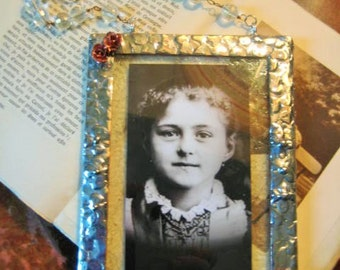 St Therese Pray for Us Stained Glass Holy Card Crystal beaded hanger and Copper Flowers