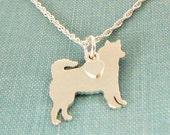 Siberian Husky Dog Necklace, Sterling Silver Personalize Pendant, Breed Silhouette Charm Rescue Shelter, Mothers Day Gift