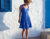 Bright Azure Blue Short Crinkled Linen Summer Dress