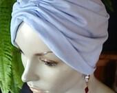 chemo soft hat chemo cap chemo headwear chemo head covers Pale blue lightweight turban soft Hat
