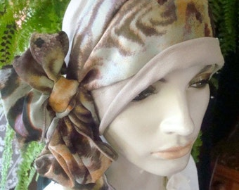 Womens hat chemo hat slouchy two piece scarf and hat animal print