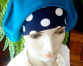 womens vintage hat beret velveteen turquoise with spotted lycra band