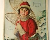 """1918 Original """"The Modern Priscilla"""" Magazine - Vintage Magazine - Winter Art - Vintage Ski - Vintage Snow Shoe"""