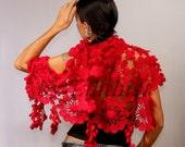 Gypsy Lace Shawl, Red Shawl, Crochet Wrap, Lace Scarf, Flower Shawl, Bridal Lace Shrug Bolero, Cape, Red Wedding Cover Up, Valentines Day