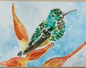 Watercolor Bird Painting, original watercolor art, watercolor painting, hummingbird painting, green, blue, gold, Hummingbird Art, 5x7