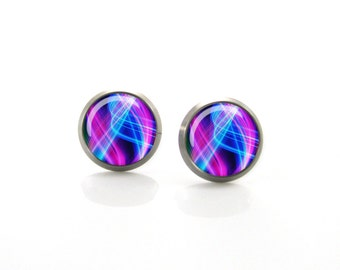 Pink, Purple and Electric Blue Titanium Post Earrings | Hypoallergenic Earring Stud | Titanium Earring Stud | Sensitive jewelry post studs