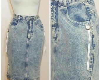 High Waisted Jeans Skirt Medium Conchos Leather Fringe Denim Skirt Acid Wash