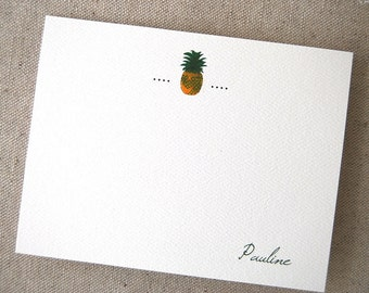 Pineapple Personalized Flat Note Card Set Welcome Thank You Thinking of You Business Notes