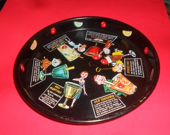 """Drink Tray 60s Madmen Style Tin Tray-Chic Litho Graphics """"Bartender's Friend"""" Kitsch Barware -Cocktail Server"""