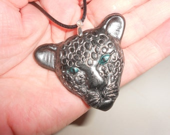 Black Leopard Jade Amulet Pendant With Silver Leafed Detail Carved Pendant On Leather Cord
