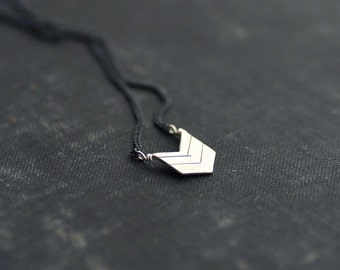 Small Chevron Arrow on Black Chain Necklace - Sterling Silver