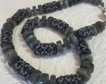 Labradorite Beaded Bead Necklace
