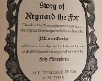 Vintage 1954 FW von Goethe Story of Reynard the Fox Hardcover Children Poem Book in Box Sleeve, EXCELLENT