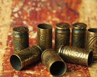 10 - 9mm Luger Etched Brass Bullet Shell Casings - antique finish - wallpaper pattern - unique Bead Caps for crystals, stones 10 - 9mm-BE