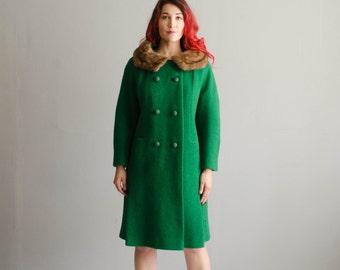 Vintage 1960s Mink Collar Coat - 60s Wool Coat - Chanceux Fur Collar Coat
