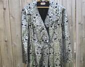 Vintage Coat 1940s Jacket 40s Designer Coat Black Coat Silver Coat Long Coat 1940 Coat Maxi Coat Vintage Long Coat Vintage Black Coat