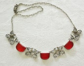 Vintage Art Deco Faceted Red Open Back Czech Glass and Sterling Necklace