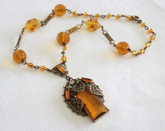 Vintage Egyptian Art Deco Amber Czech Glass Necklace