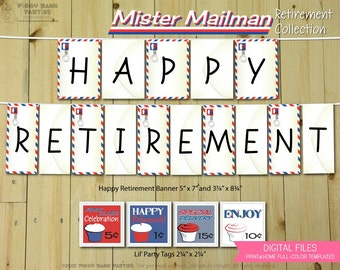 Mister Mailman Retirement Collection : Print at Home Post Office Party Decorations | Mail | DIY Printable | Digital Files - INSTANT DOWNLOAD