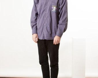Purple Men Shirt / Violet Cotton Button Up / Retro Bold Shirt
