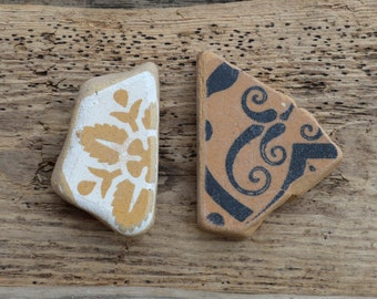 VICTORIAN TILE PAIR - Unusual Chunky Sea Pottery - Jewelry Stand (4500)