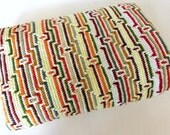 Vintage 1960's 1970's Crochet Blanket // 60's 70's // Orange Brown Grey White Yellow Green Abstract Retro Knit Bedspread