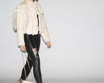 1980s White Rabbit Tail Fur Coat   - Vintage White Rabbit Fur Coats  - Vintage White Fur Coats   - WO0028