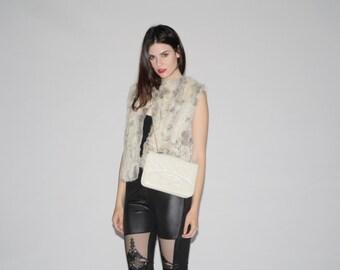 1980s Silver Rabbit Fur Vest   - Vintage Rabbit Fur Coats  - Vintage Fur Coats   - WO0031
