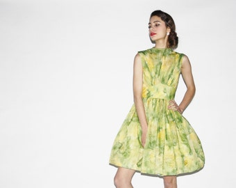 Vintage 1950s Lime Green Watercolor Party Dress  - Vintage  Party Dress - Vintage Green Dresses  - WD0526