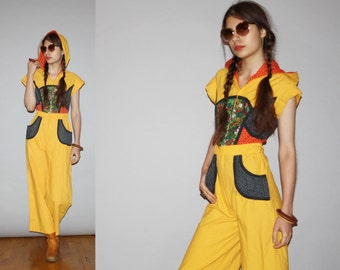 RARE 1960s Vintage Hooded Yellow Hippie Patchwork Floral Jumpsuit  - Vintage 60s Jumpsuits    - WD0419