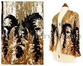 1920s 1930s Art Deco Flapper Sequin Jacket. 'Adrian Look' - Madam Satan influence. Old Hollywood Glamour. Probably French.