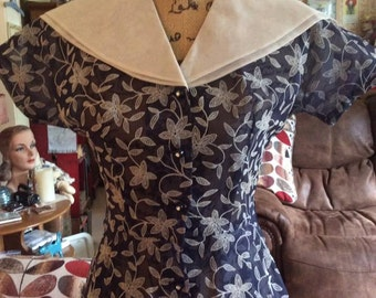 Vintage 1940s 1950s Dress Sheer Blue & White Flocked Flowers Double Sailor Type Collar Puritan Forever Young