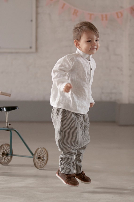 Boys Clothes Linen Shirt White Shirt Toddler Outfit By