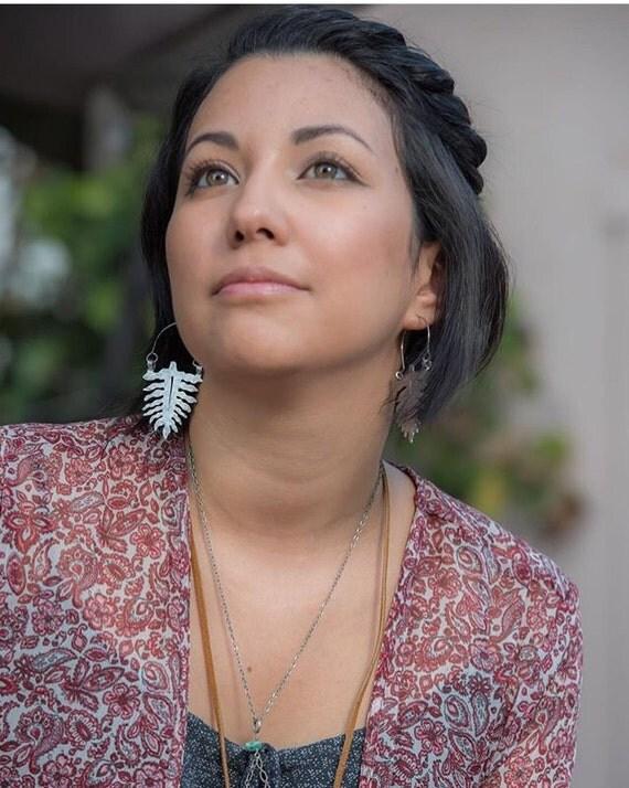 Fern leaf earrings, fern hoop earrings, botanical jewelry, tropical leaf jewelry