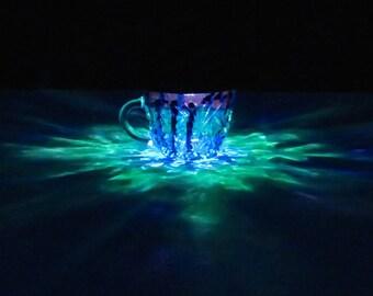 Green Blue Purple Painted Solar LED Light/Fairy Garden/Patio Table Lamp/Solar Luminary/Hurricane Lantern/ReCLAIMED Color Solar Light/Wedding