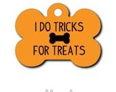SALE...Pet Tag - Pet ID Tag - Dog Tag - Cat Tag - Lunch Box Tag - Bag Tag - Luggage Tag - Personalized Halloween Tricks for Treats Tag