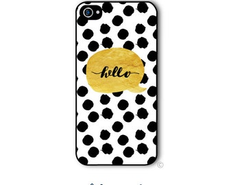 Personalized iPhone Case Custom Monogram Case iPhone 4 5 5s 5c 6 6s 6 Plus, Samsung Galaxy S4 S5 S6 Tough Phone Case Hello Gold Style 229